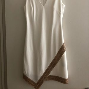 BEBE WHITE GOLD TRIM DRESS